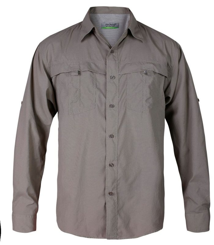 camisa manga larga estilo columbia para hombre en color gris