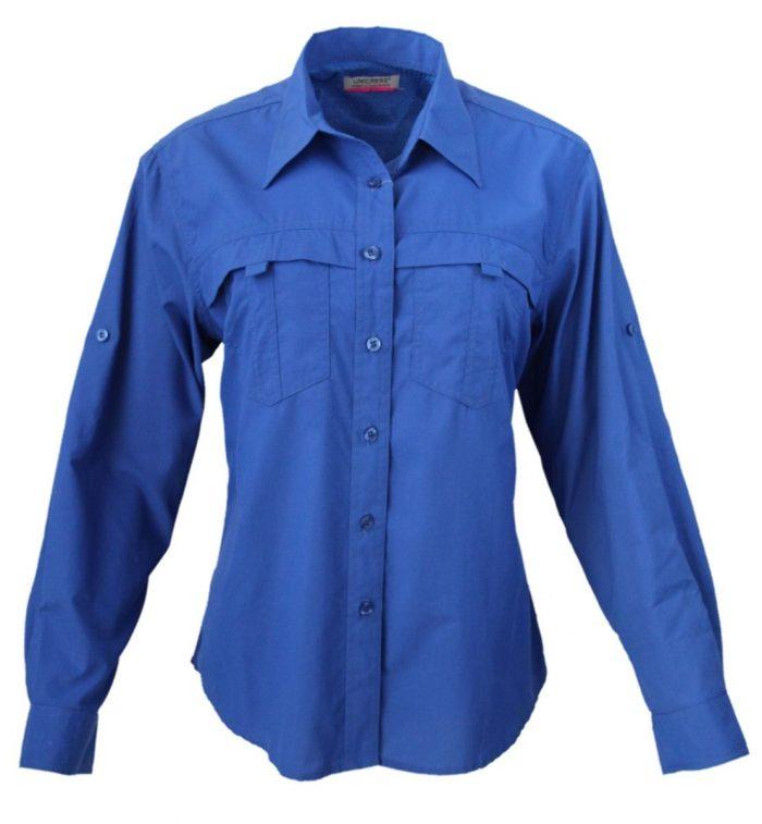 Camisa estilo columbia para dama en color azul