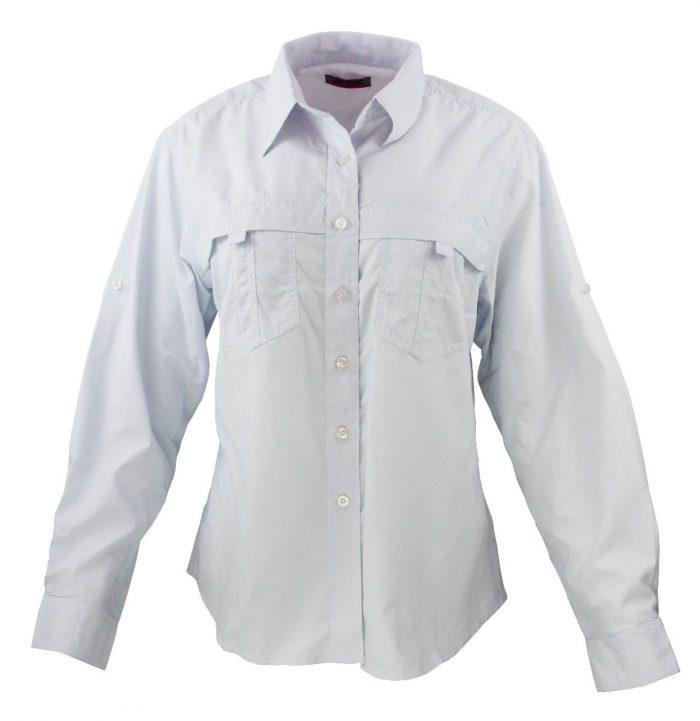 Camisa estilo columbia para dama en color blanco