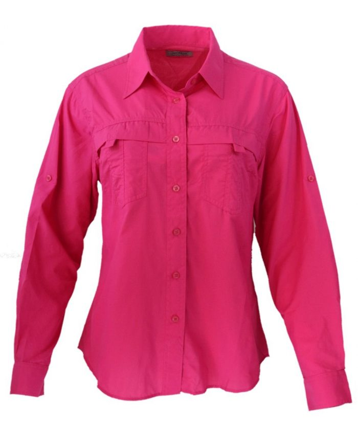 Camisa estilo columbia para dama en color fucsia