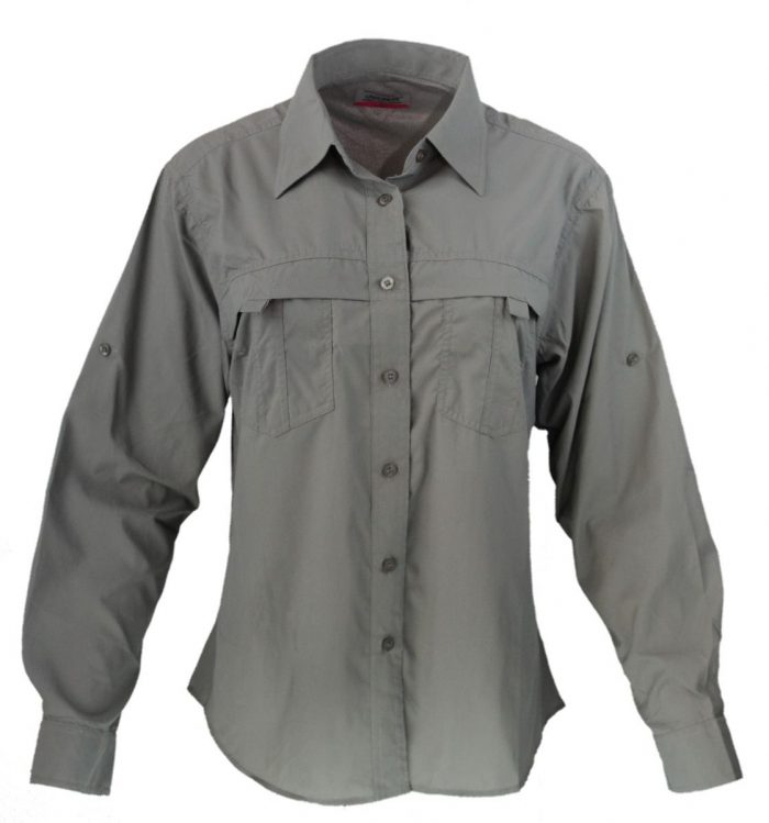 Camisa estilo columbia para dama en color gris
