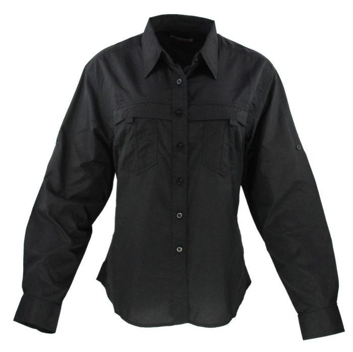 Camisa estilo columbia para dama en color negro
