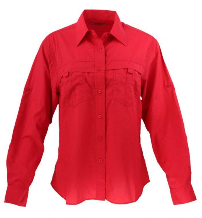 Camisa estilo columbia para dama en color rojo