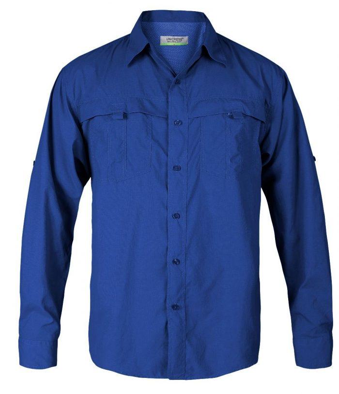 camisa manga larga estilo columbia para hombre en color azul