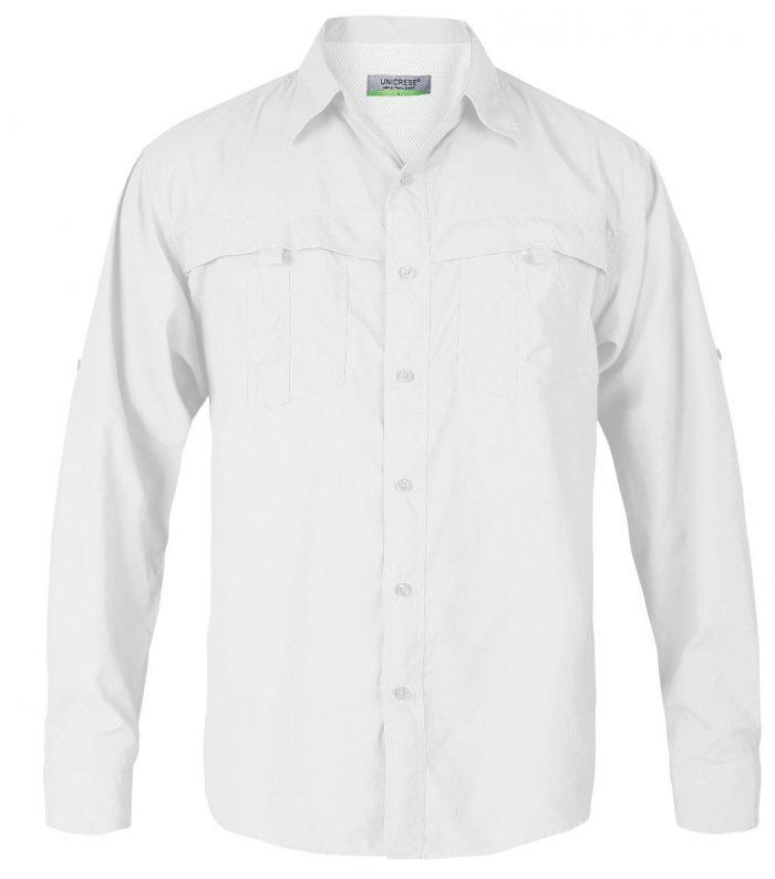 camisa manga larga estilo columbia para hombre en color blanco