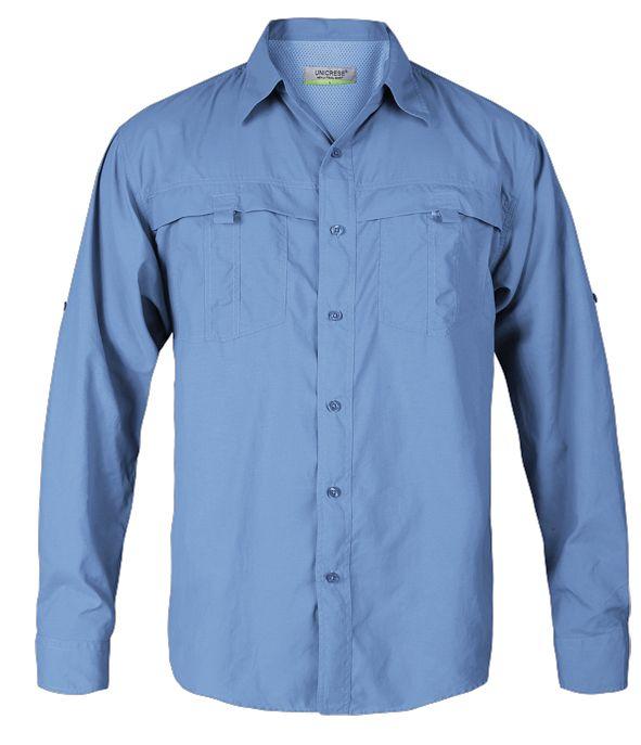 camisa manga larga estilo columbia para hombre en color celeste