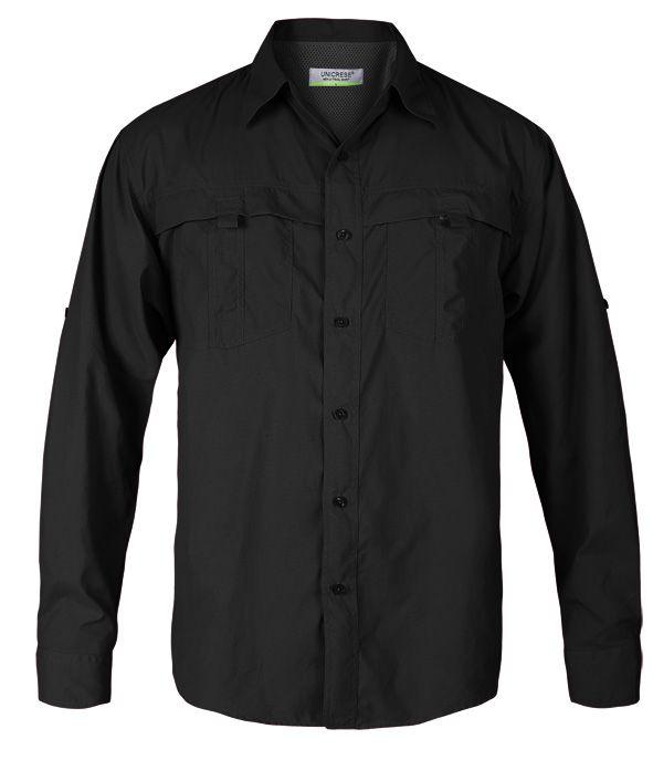 camisa manga larga estilo columbia para hombre en color negro
