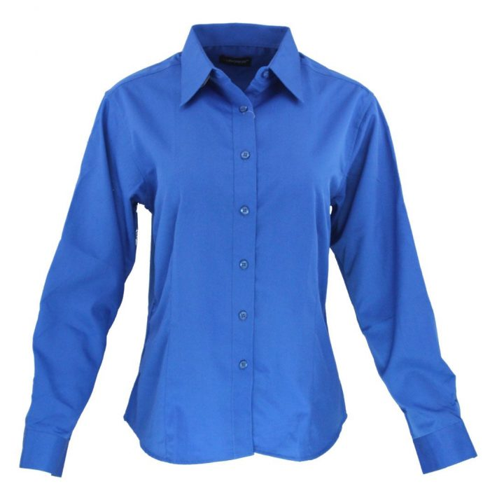Camisa manga larga para dama en color azul
