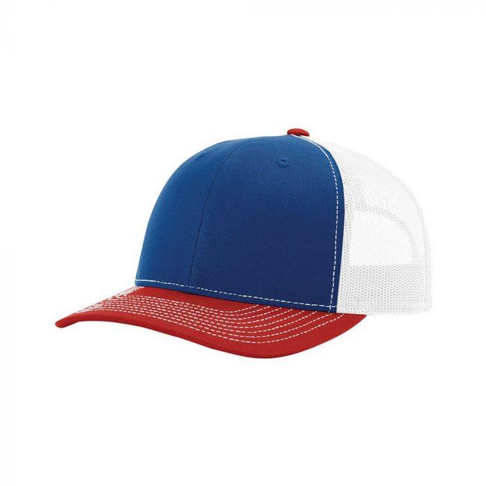 gorra richardson azul con rojo y blanco