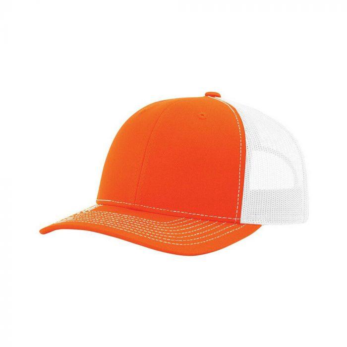 gorra richardson naranja con blanco