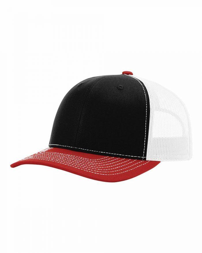 gorra richardson negra con blanca y roja