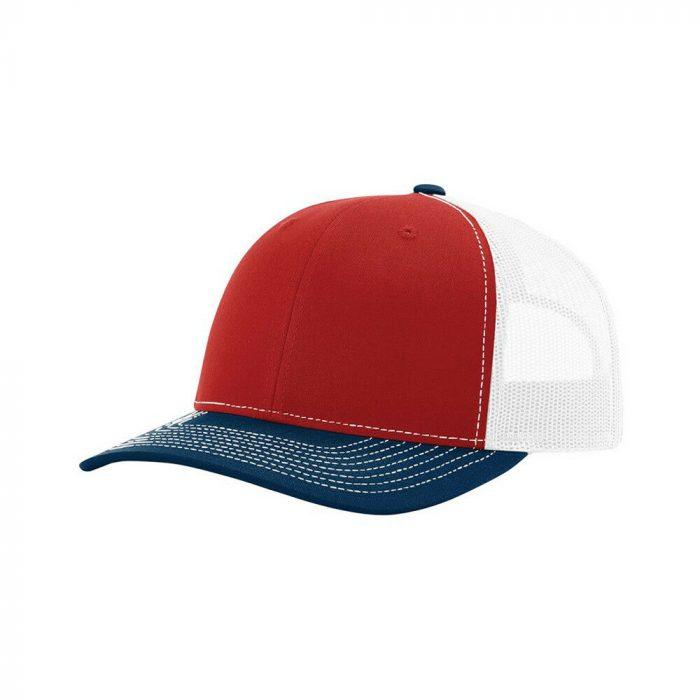 gorra richardson rojo con azul y blanco