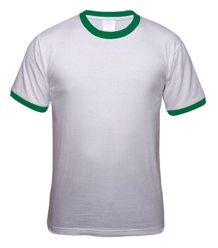 Sueter cuello redondo blanco con verde