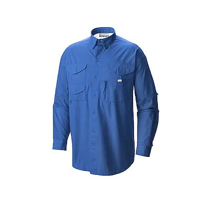 Camisa manga larga estilo columbia en color azul