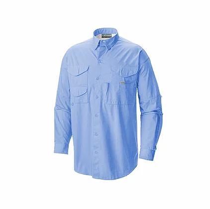 Camisa manga larga estilo columbia en color celeste