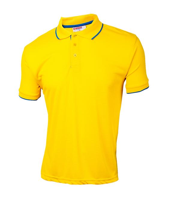 Tshirt polo para caballero en color amarillo y ribetes azul