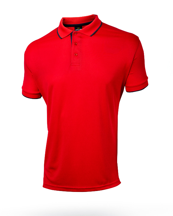 Tshirt polo para caballero en color rojo y ribetes negros