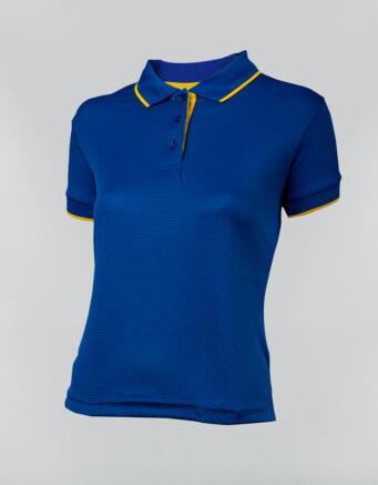 Tshirt polo para dama en color azul navy y ribete amarillo