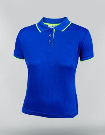 Tshirt polo para dama en color azul royal y ribete blanco