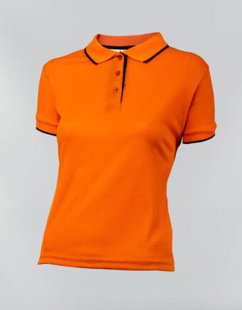 Tshirt polo para dama en color naranja y ribete azul