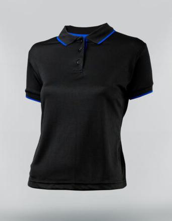 Tshirt polo para dama en color negro y ribete azul