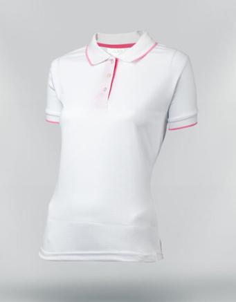 Tshirt polo para dama en color blanco en tela wafle