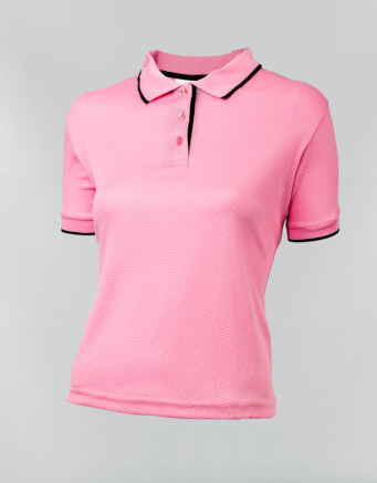 Tshirt polo para dama en color rosado y ribete azul